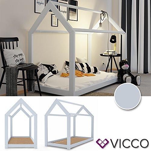 Vicco Kinderbett WIKI 90x200 Hausbett Grau Kinderhaus Bett Kinder Holz Haus Schlafen Spielbett Inkl. Lattenrost - 2
