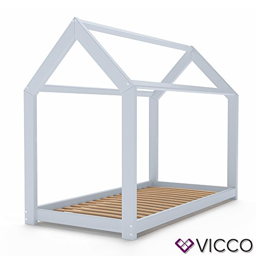 Vicco Kinderbett WIKI 90x200 Hausbett Grau Kinderhaus Bett Kinder Holz Haus Schlafen Spielbett Inkl. Lattenrost - 4