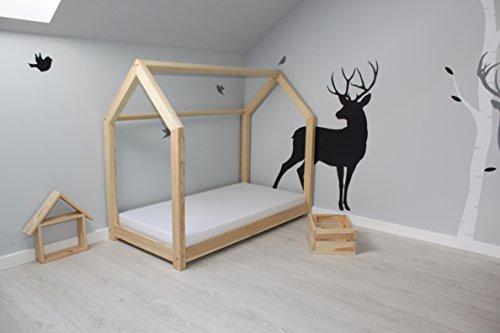 Best For Kids Kinderbett Kinderhaus Jugendbett Natur Haus Holz Bett in 3 Größen mit oder ohne 10 cm Matratze (90x200 cm) - 3