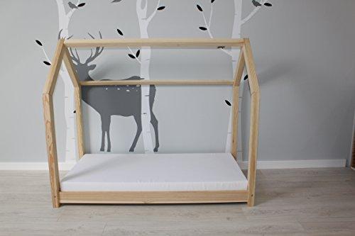 Best For Kids Kinderbett Kinderhaus Jugendbett Natur Haus Holz Bett in 3 Größen mit oder ohne 10 cm Matratze (90x200 cm) - 4
