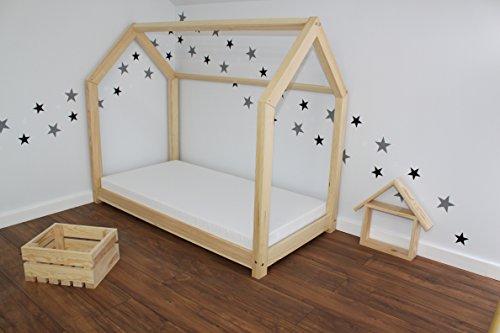 Best For Kids Kinderbett Kinderhaus Jugendbett Natur Haus Holz Bett in 3 Größen mit oder ohne 10 cm Matratze (90x200 cm) - 5