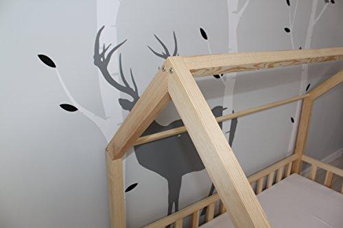 Best For Kids Kinderbett Kinderhaus Jugendbett Natur Haus Holz Bett in 3 Größen mit oder ohne 10 cm Matratze (90x200 cm) - 6