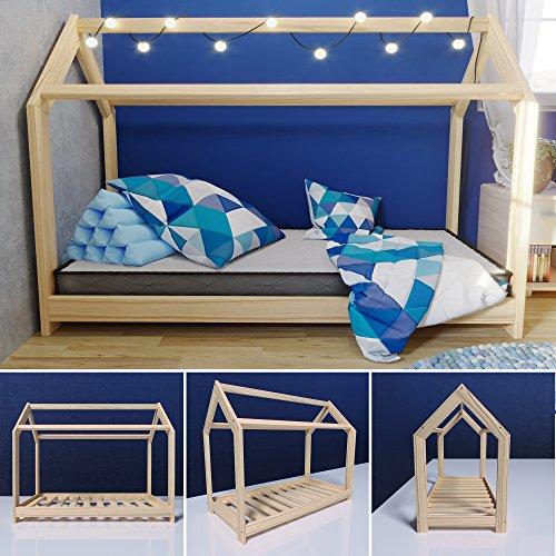 MSS® Kinder Hausbett 160 x 80 cm Kiefer aus Holz Spielbett inkl. Lattenrost - 2