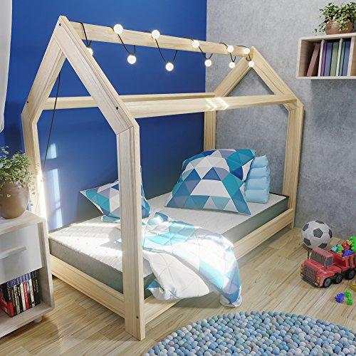 MSS® Kinder Hausbett 160 x 80 cm Kiefer aus Holz Spielbett inkl. Lattenrost - 3