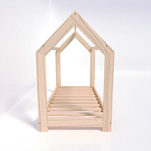 MSS® Kinder Hausbett 160 x 80 cm Kiefer aus Holz Spielbett inkl. Lattenrost - 4