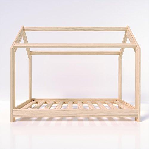 MSS® Kinder Hausbett 160 x 80 cm Kiefer aus Holz Spielbett inkl. Lattenrost - 5