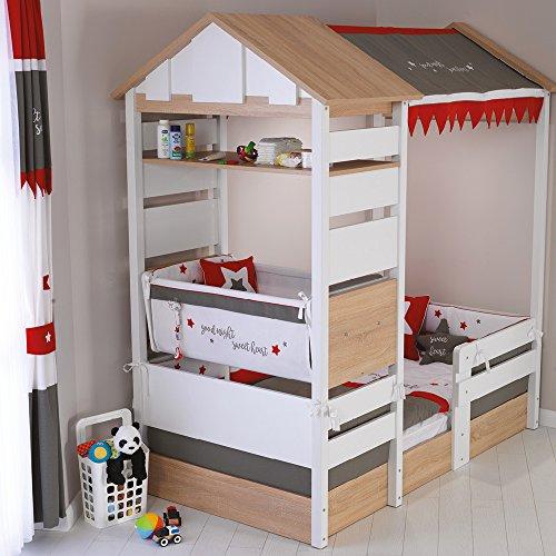 Möbel Komplettset Kinderzimmer Jugendzimmer Hausbett Kinderbett Treehouse Baumhütte Spielbett massiv, Komponenten:Montosori Kombi-Bett - 2