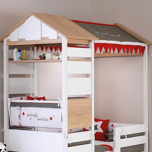 Möbel Komplettset Kinderzimmer Jugendzimmer Hausbett Kinderbett Treehouse Baumhütte Spielbett massiv, Komponenten:Montosori Kombi-Bett - 3