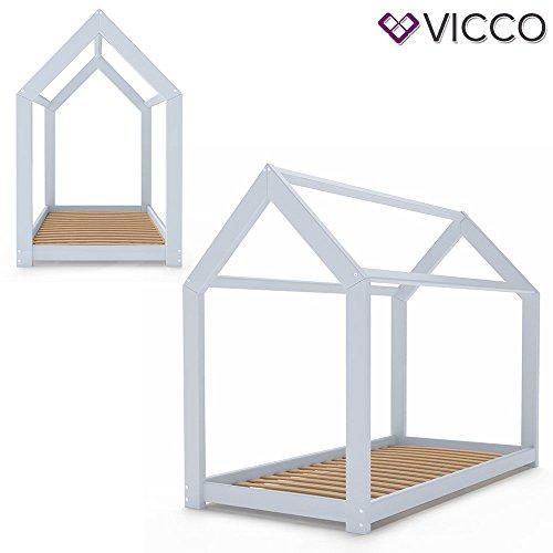 Vicco Kinderbett Wiki 90x200 Hausbett Grau Kinderhaus Bett Kinder Holz Haus Schlafen Spielbett Inkl. Lattenrost und 7-Zonen Kaltschaummatratze, lackiertes Massivholz - 4