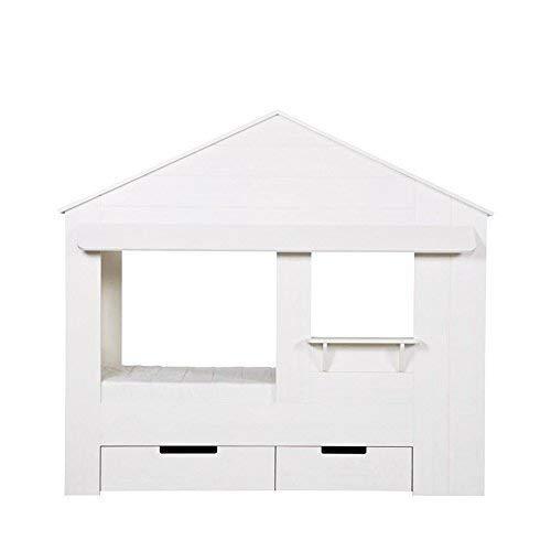 WOOOD Hüttenbett Weiß mit Regal