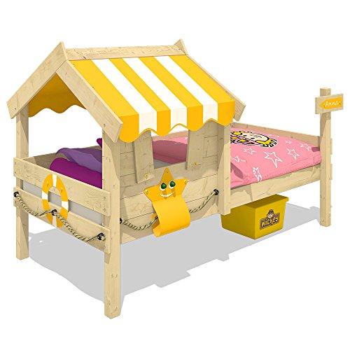 WICKEY Kinderbett CrAzY Sunny Holzbett Einzelbett 90x200 mit Dach und Lattenboden, gelb - 2