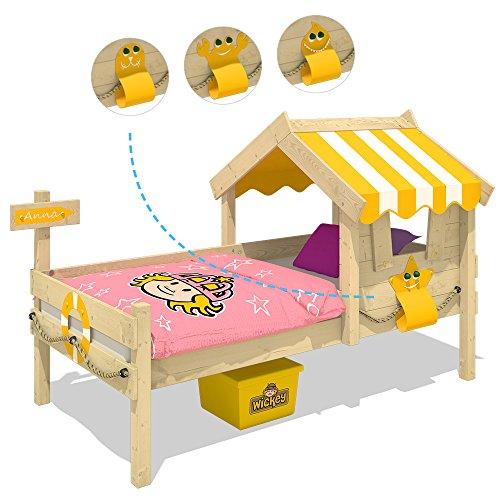 WICKEY Kinderbett CrAzY Sunny Holzbett Einzelbett 90x200 mit Dach und Lattenboden, gelb - 3