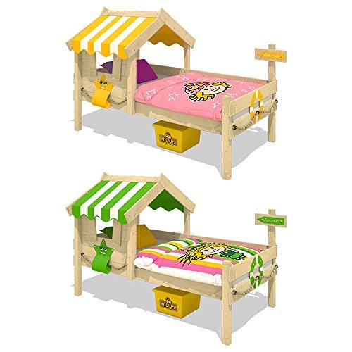 WICKEY Kinderbett CrAzY Sunny Holzbett Einzelbett 90x200 mit Dach und Lattenboden, gelb - 4