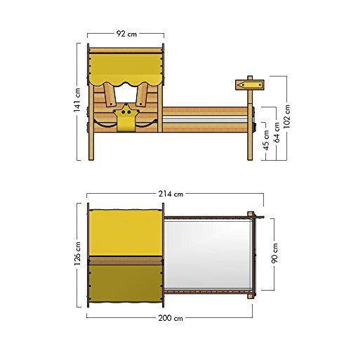 WICKEY Kinderbett CrAzY Sunny Holzbett Einzelbett 90x200 mit Dach und Lattenboden, gelb - 6