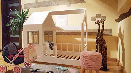 Oliveo New Mon Kinderbett, Bett, Kinderbett, Bett, Hüttenbett mit Gitter
