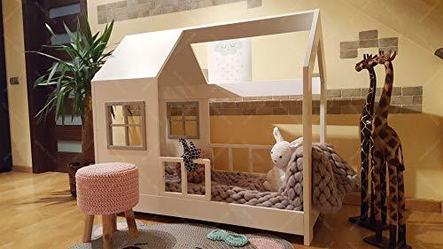 Oliveo New Mon Kinderbett, Bett, Kinderbett, Bett, Hüttenbett mit Gitter - 3