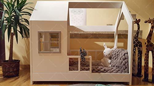 Oliveo New Mon Kinderbett, Bett, Kinderbett, Bett, Hüttenbett mit Gitter - 4