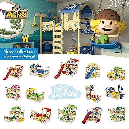 WICKEY Kinderbett CrAzY Buddy Einzelbett 90x200 Abenteuerbett mit Dach und Lattenboden, apfelgrün - 6