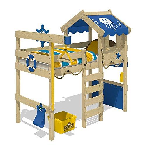WICKEY Hochbett CrAzY Jelly Kinderbett mit Dach Spielbett 90x200 für Kinder mit Lattenboden und Hebezugsystem, rot - 2