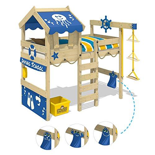 WICKEY Hochbett CrAzY Jelly Kinderbett mit Dach Spielbett 90x200 für Kinder mit Lattenboden und Hebezugsystem, rot - 3