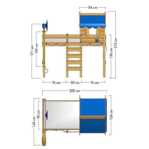 WICKEY Hochbett CrAzY Jelly Kinderbett mit Dach Spielbett 90x200 für Kinder mit Lattenboden und Hebezugsystem, rot - 6