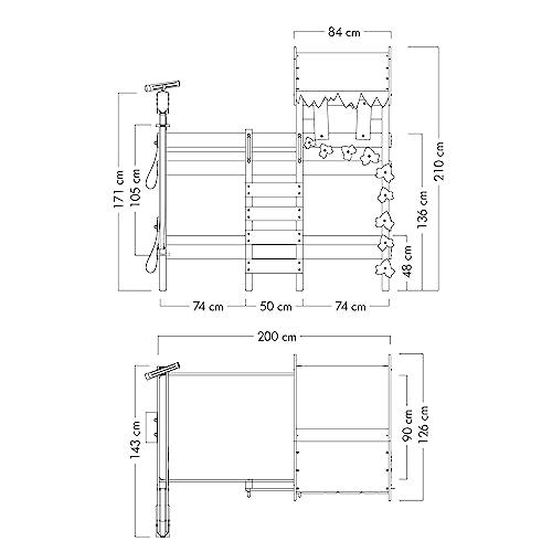 WICKEY Etagenbett CrAzY Ivy Spielbett für 2 Kinder Hochbett mit Dach, Kletterleiter und Lattenboden, rot-apfelgrün, 90x200 cm - 3