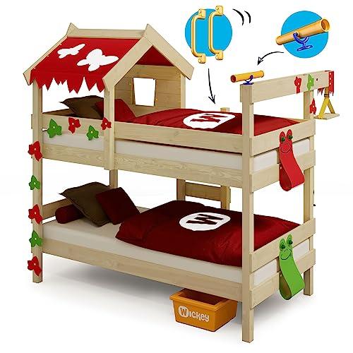 WICKEY Etagenbett CrAzY Ivy Spielbett für 2 Kinder Hochbett mit Dach, Kletterleiter und Lattenboden, rot-apfelgrün, 90x200 cm - 6
