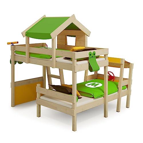 WICKEY Doppelbett CrAzY Trunky Etagenbett Kinderbett 90x200 für 2 Kinder in schrägem Design mit Lattenboden, apfelgrün-gelb - 4