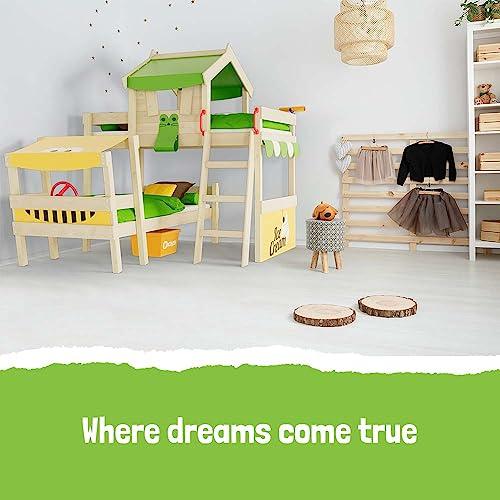 WICKEY Doppelbett CrAzY Trunky Etagenbett Kinderbett 90x200 für 2 Kinder in schrägem Design mit Lattenboden, apfelgrün-gelb - 5