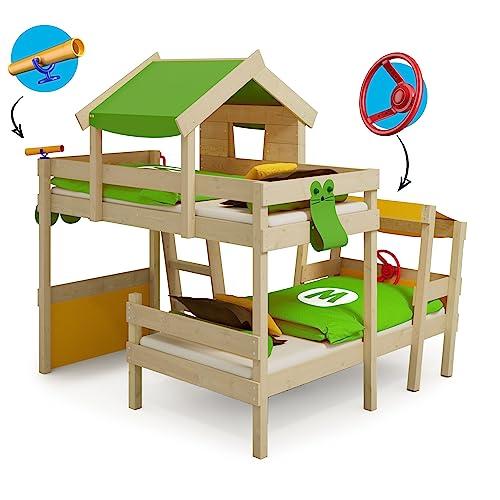 WICKEY Doppelbett CrAzY Trunky Etagenbett Kinderbett 90x200 für 2 Kinder in schrägem Design mit Lattenboden, apfelgrün-gelb - 6