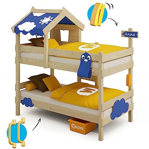 WICKEY Etagenbett CrAzY Daisy Kinderbett Hochbett mit Dach, Fenster, Kletterleiter und Lattenboden, blaue Plane, 90x200 cm - 6
