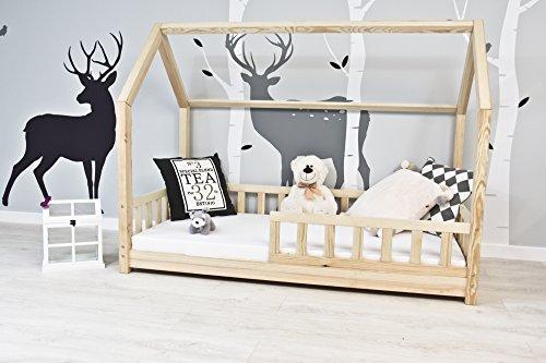 Best For Kids Kinderbett Kinderhaus mit Rausfallschutz Jugendbett Natur Haus Holz Bett mit oder ohne 10 cm Matratze in 3 Größen (90x200 cm mit Matratze) - 2