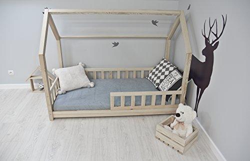 Best For Kids Kinderbett Kinderhaus mit Rausfallschutz Jugendbett Natur Haus Holz Bett mit oder ohne 10 cm Matratze in 3 Größen (90x200 cm mit Matratze) - 3