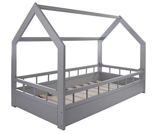 Velinda Kinderbett Hausbett Spielbett Abenteuerbett Einzelbett mit Absturzsicherung (Farbe: Grau) - 3
