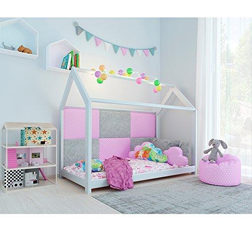 Vicco Kinderbett Kinderhaus Jugendbett Kinder Bett Holz Haus Schlafen Spielbett Hausbett - lackiertes Massivholz - kindgerechte Verarbeitung (Weiß, 90 x 200 cm) - 5