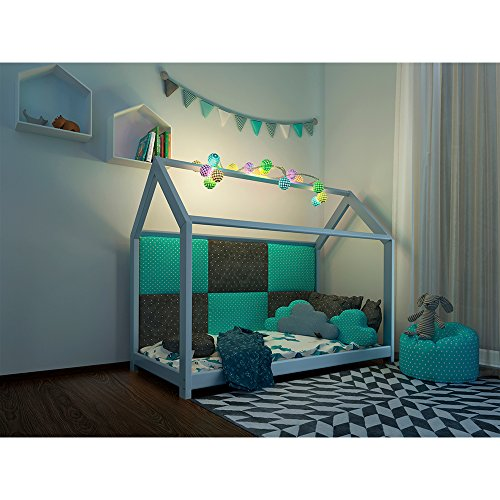 Vicco Kinderbett Kinderhaus Jugendbett Kinder Bett Holz Haus Schlafen Spielbett Hausbett - lackiertes Massivholz - kindgerechte Verarbeitung (Weiß, 90 x 200 cm) - 8