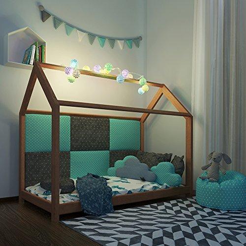 Vicco Kinderbett Jugenbett Kinderhaus Bett Kinder Holz Haus Schlafen Spielbett Hausbett - lackiertes Massivholz - kindgerechte Verarbeitung (Natur, 80 x 160 cm) - 7