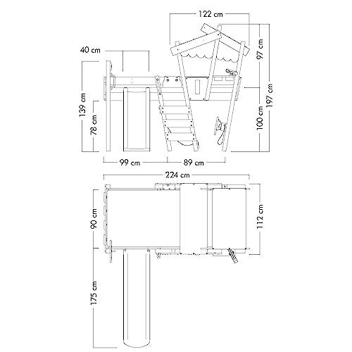 WICKEY Kinderbett 'CrAzY Hutty' mit Rutsche - Hochbett in verschiedenen Farbkombinationen - 90x200 cm - 3