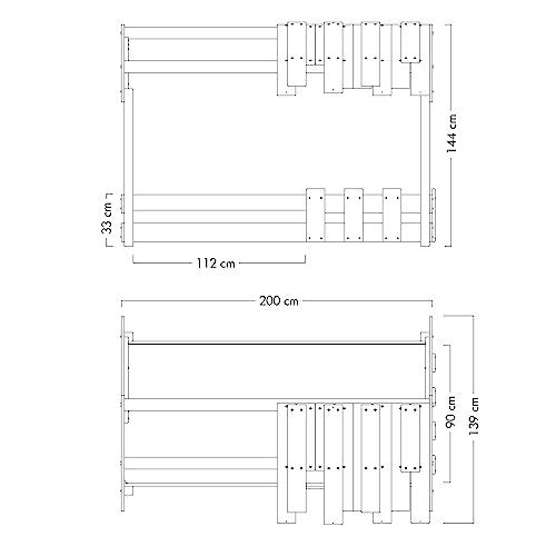 WICKEY Kinderbett 'CrAzY Beach' - Bodentiefes Spielbett - Einzelbett - 90x200 cm - 3