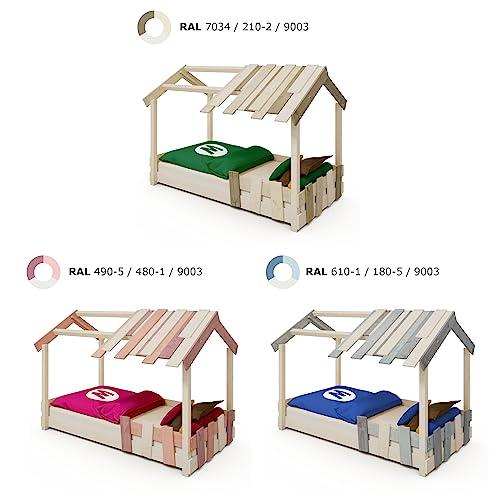 WICKEY Kinderbett 'CrAzY Beach' - Bodentiefes Spielbett - Einzelbett - 90x200 cm - 6
